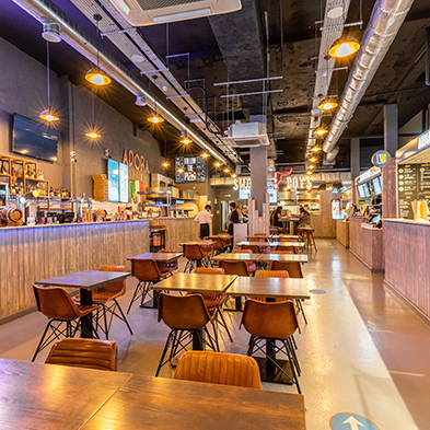 Full Mapei system provides seamless finish to London food court.