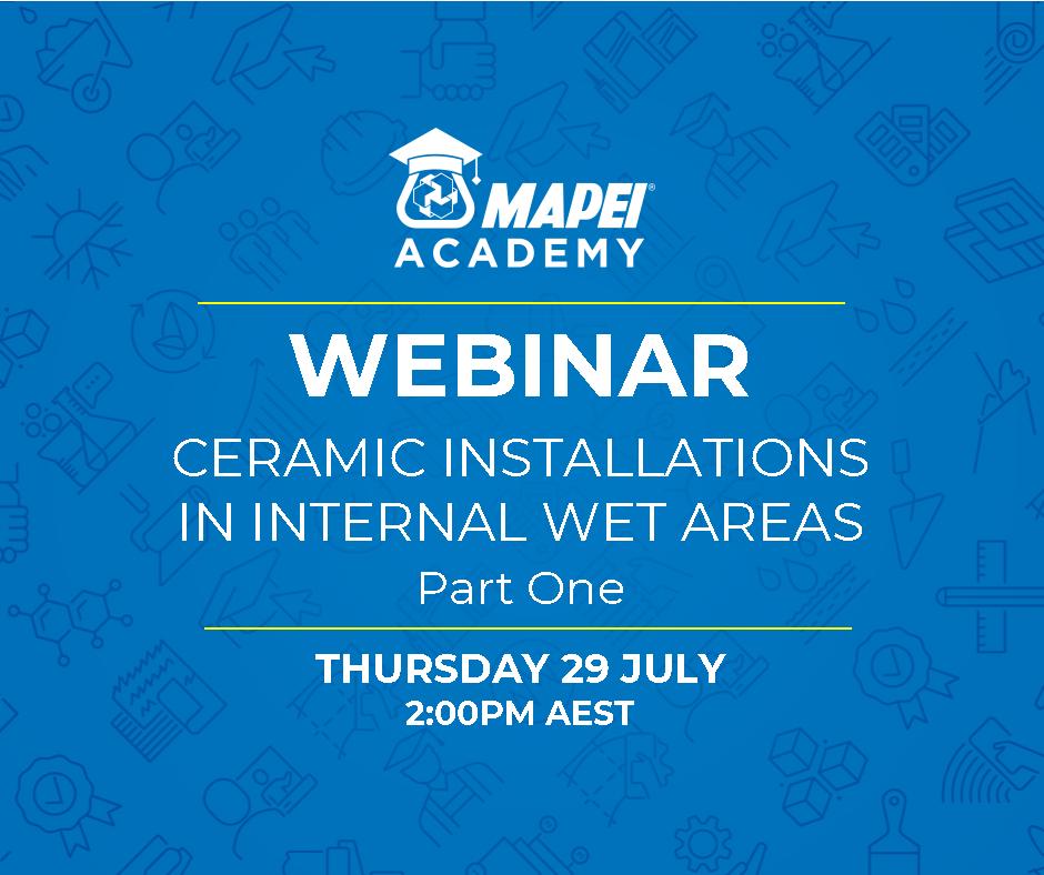 Webinar Facebook Post - Ceramic Installations in Internal Wet Areas 29.6.2021