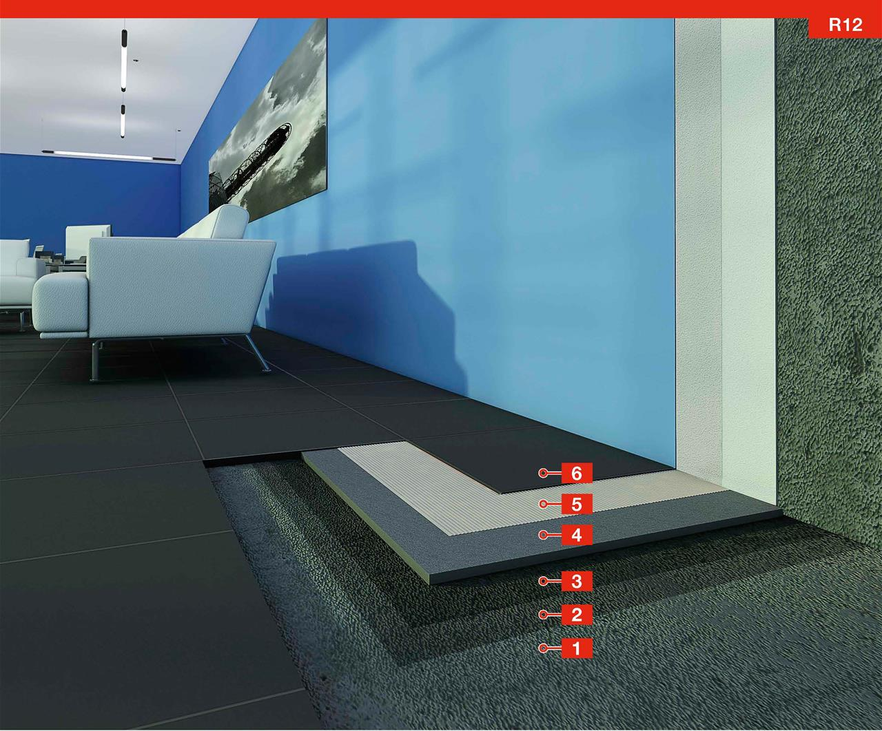 System For The Installation Of Carpet Tiles On Uneven Concrete With High Residual Moisture Content R12