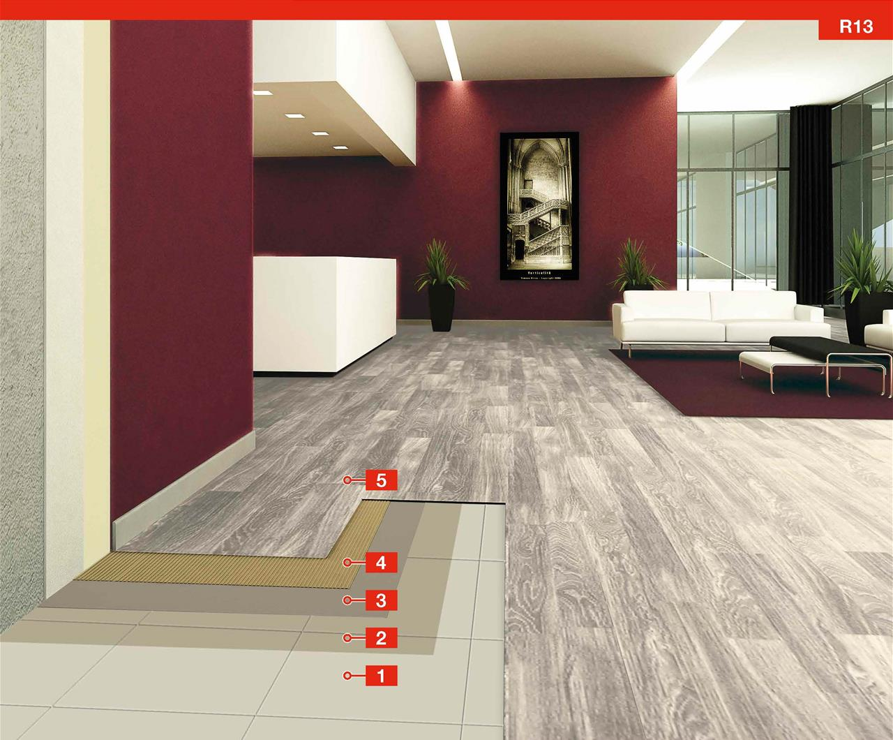 System For The Installation Of Lvt Planks Over Existing Ceramic
