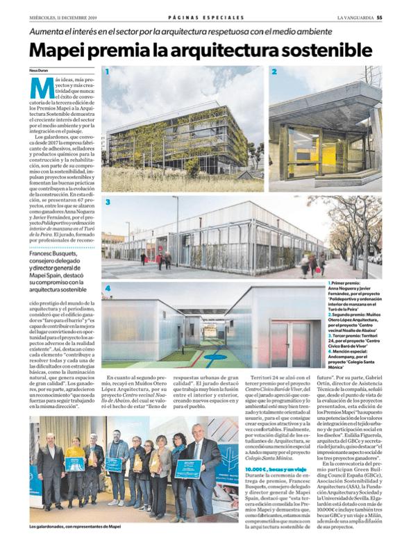 El diario la Vanguardia se hace eco de la tercera edición del Premio Mapei.