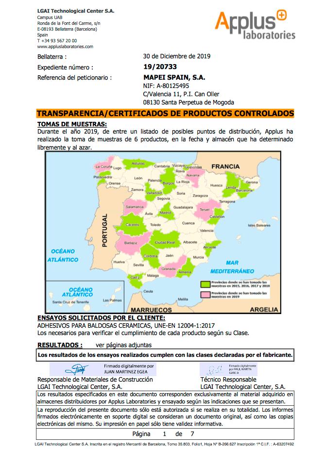 Renovación de certificaciones y política de transparencia de Mapei