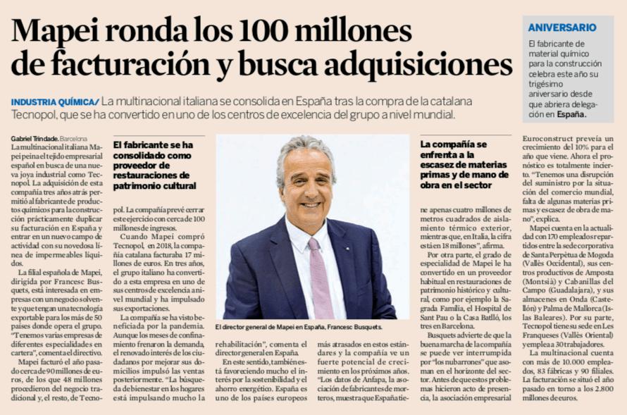 Los diarios Expansión y La Vanguardia hablan sobre la actualidad económica de Mapei
