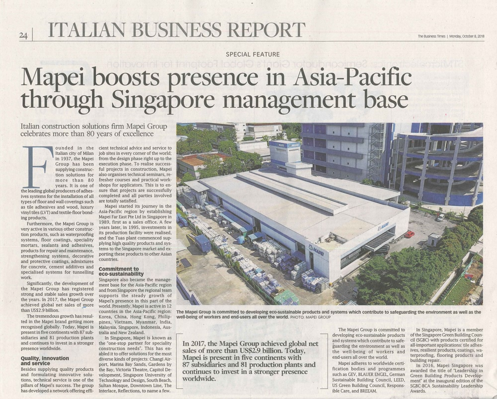 Mapei was featured on The Business Times, 8 October 2018