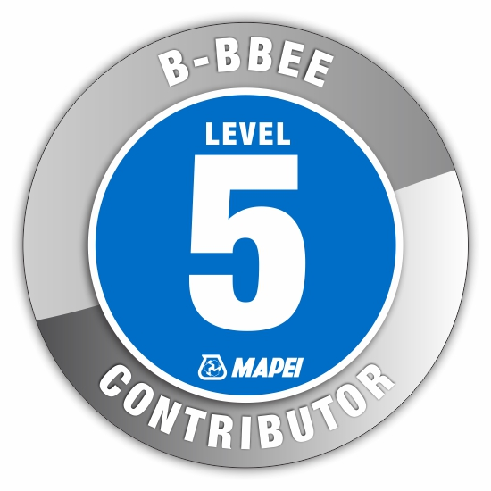 MAPEI South Africa achieves a LEVEL 5 B-BBEE rating.