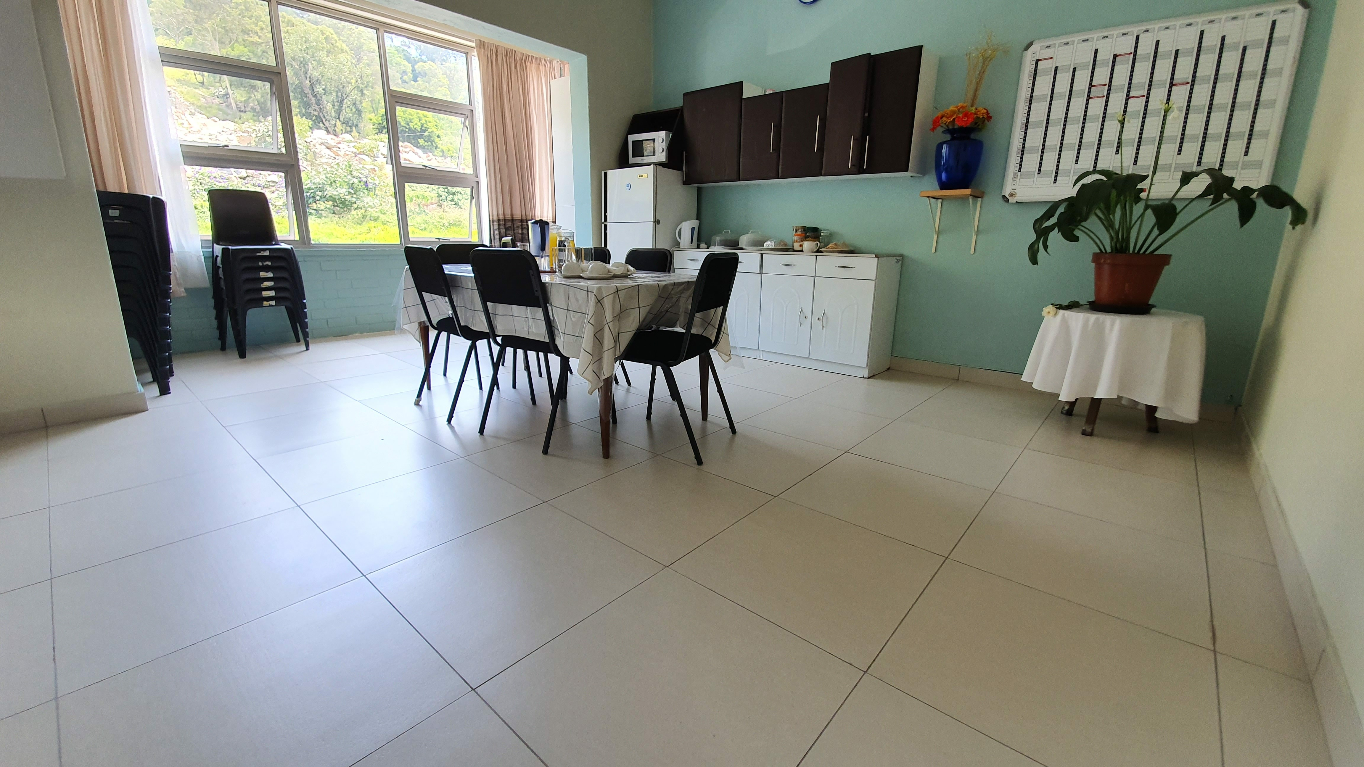 Newly tiled communal kitchen