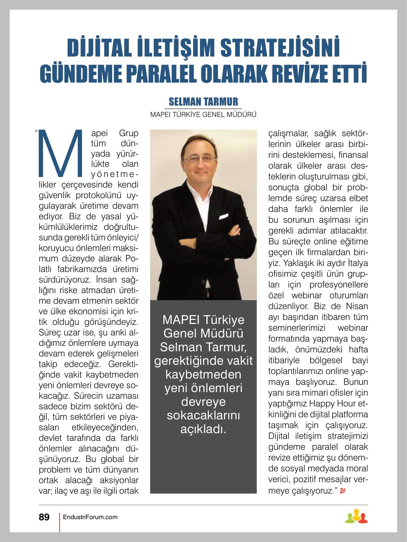 Genel Müdürümüz Sayın Selman Tarmur'un ST Endüstri Dergisi Röportajı