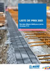 Liste de prix 2021 – Bandes d'étanchéité pour joints Idrostop PVC