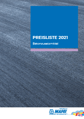 Preisliste 2021 – Betonzusatzmittel