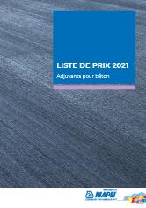 Liste de prix 2021 – Adjuvants pour béton