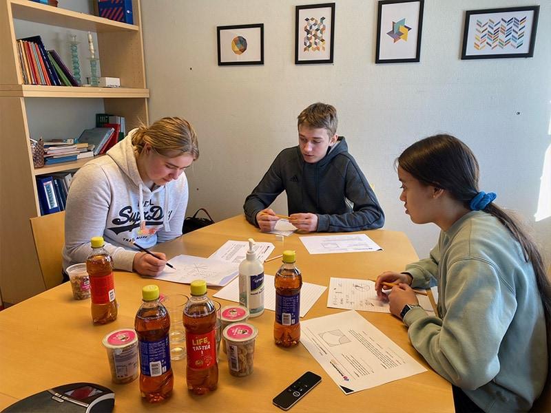 Det jobbes med oppgaven: Laget fra Austmarka barne- og ungdomsskole jobber intenst. Fra venstre: Elise Furuberg Holthe, Sondre Østgård og Vanessa Sletten.