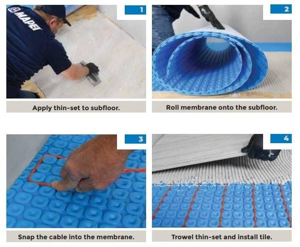 mapeheat membrane steps