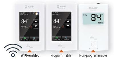 The three Mapeheat thermostat options each feature a built-in setting to prevent the in-floor temperature from exceeding 28°C or 82°F.