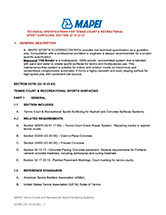 32 18 23.53 Guide Specification - tennis court & recreational sports surfacing – Mapecoat TNS Binder