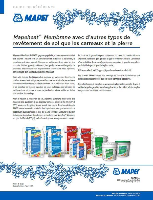 Mapeheat Membrane avec d'autres types de revêtement de sol que les carreaux et la pierre