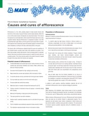 Causes and cures of efflorescence