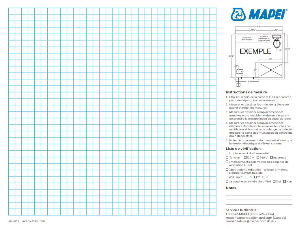 Mapeheat Mat measuring grid