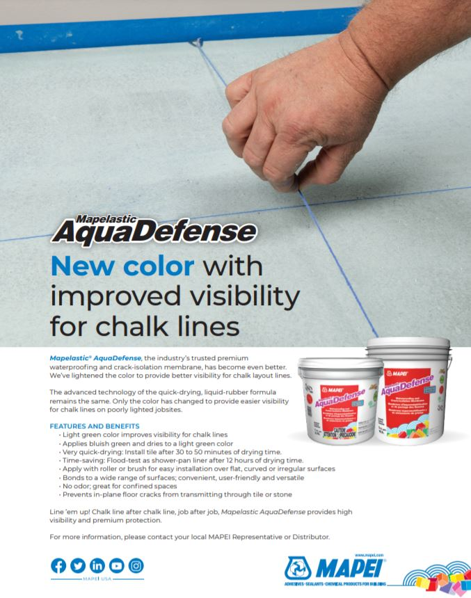 Mapelastic AquaDefense - New color with improved visibility for chalk lines