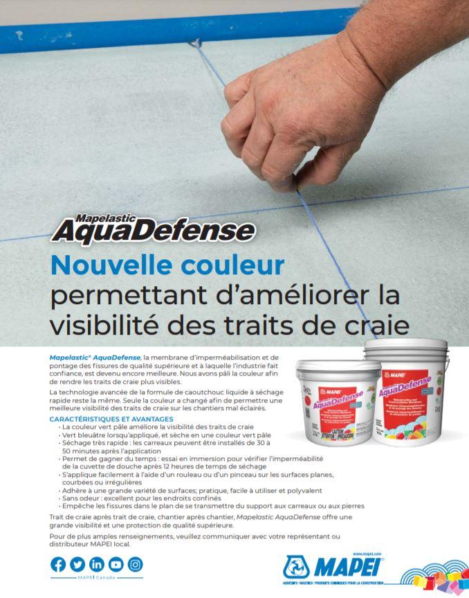 Mapelastic AquaDefense - Nouvelle couleur permettant d'améliorer la visibilité des traits de craie