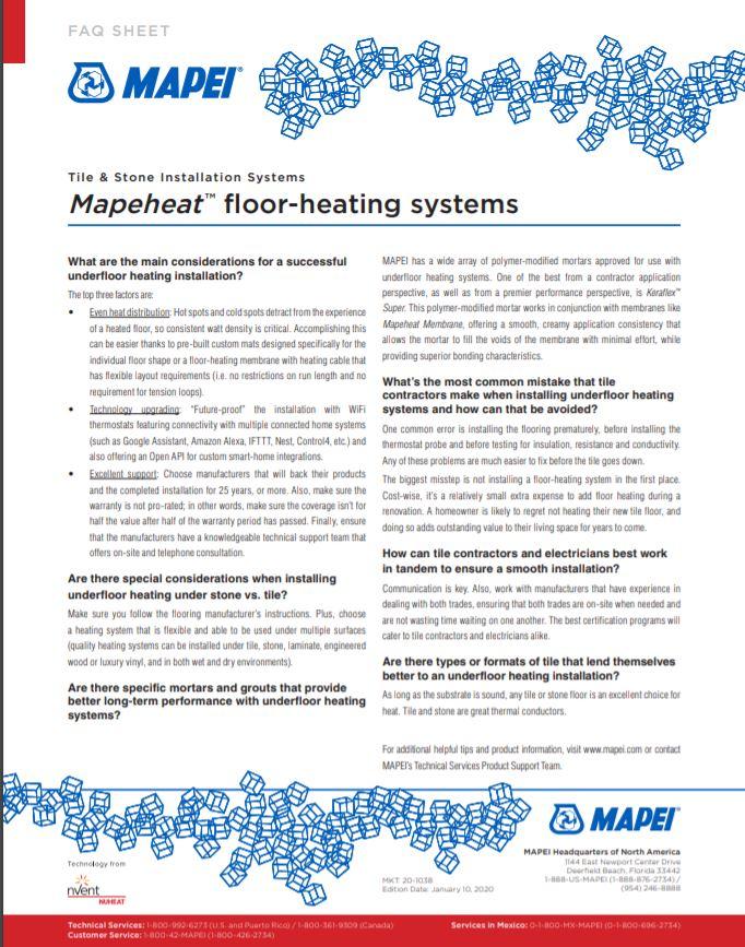 FAQ - Mapeheat floor-heating system