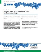 Surface prep over Mapeheat Mat for floor coverings