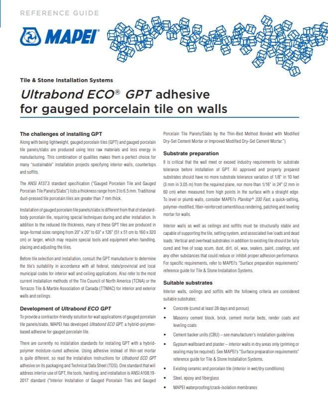 Ultrabond ECO GPT adhesive for gauged porcelain tile on walls