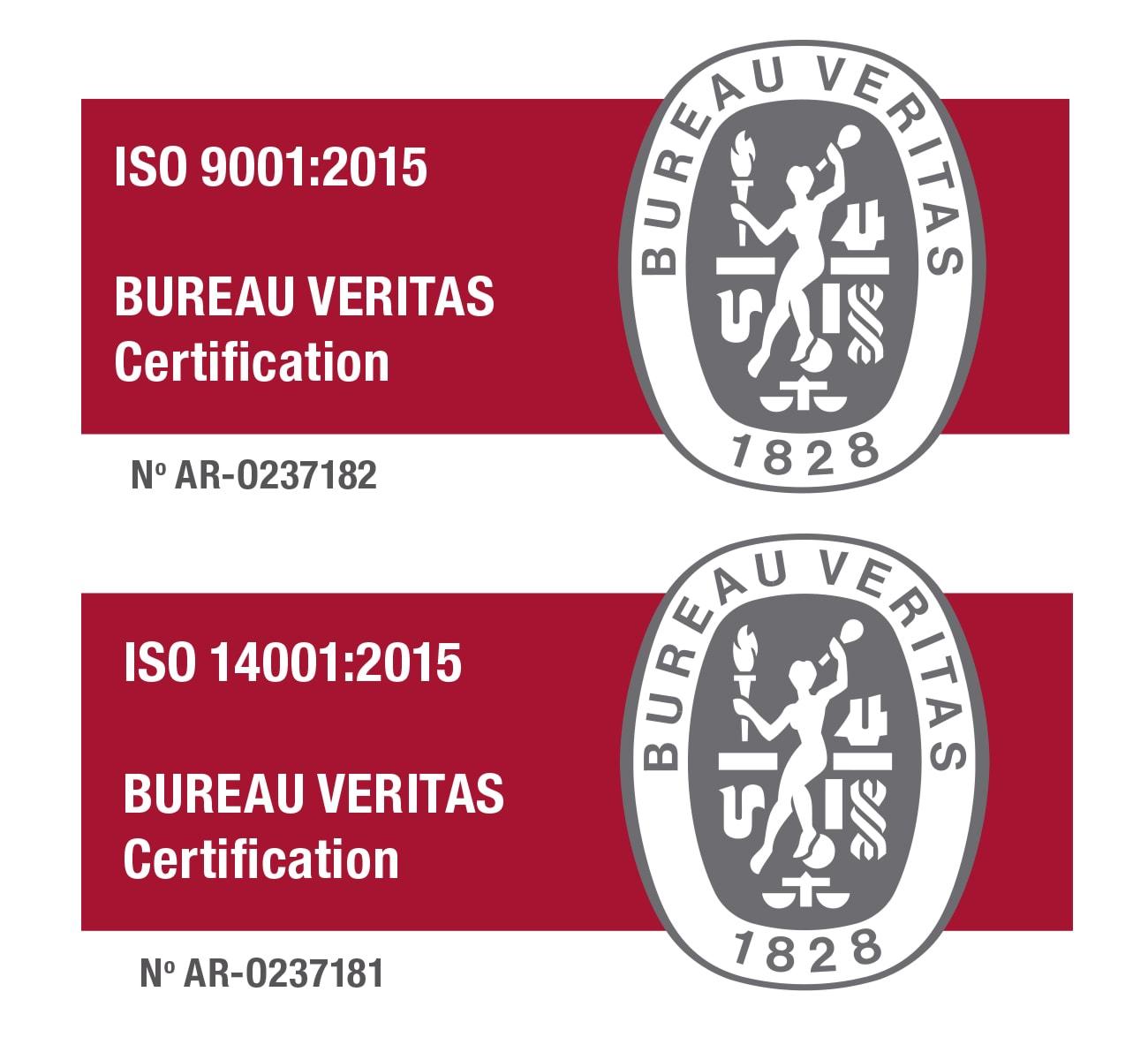 Certificaciones ISO 9001:2015 e ISO 14001:2015