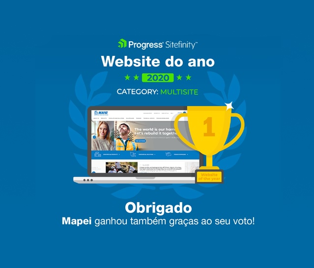 Mapei.com premiado como o melhor website do ano pela Progress Sitefinity