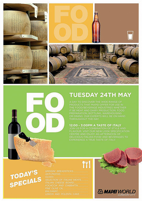 Mapei LONDON SHOWROOM - Clerkenwell Design Week - Event posters 24th may tuesday FOOD copy