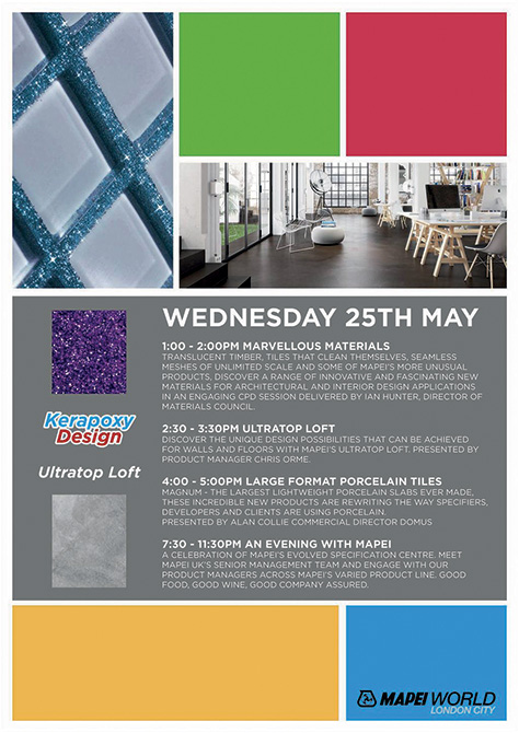 Mapei LONDON SHOWROOM - Clerkenwell Design Week - Event posters 25th may wednesday kerapoxy copy