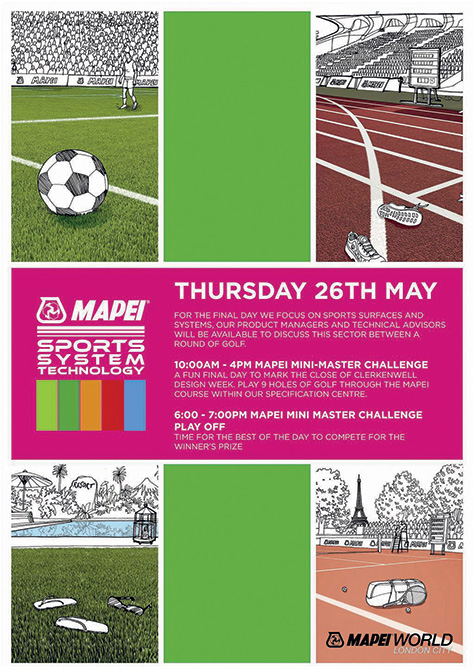 Mapei LONDON SHOWROOM - Clerkenwell Design Week - Event posters 26th may thursday sports system copy