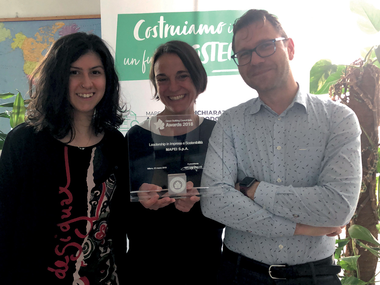Mapei premiata LEED Green Building Council Italia Leadership in Impresa e Sostenibilità