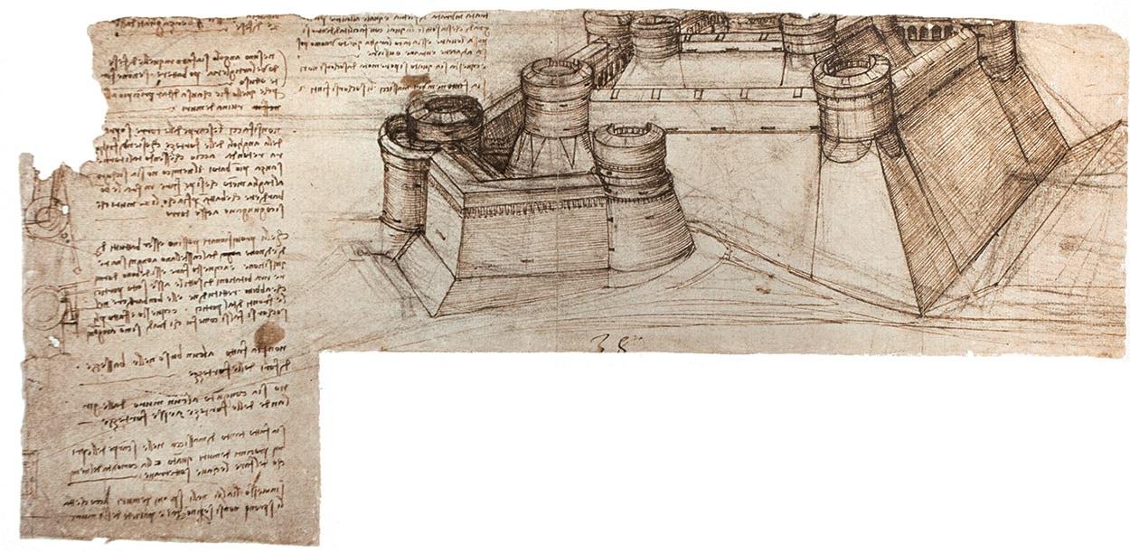 Mapei e Leonardo da Vinci_disegno mura