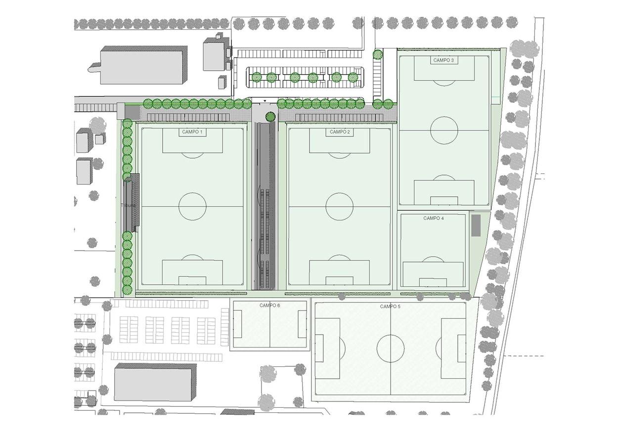 """Planimetria del Mapei Football Center a Cà Marta: contrassegnato come """"Campo 1"""", il nuovo campo sintetico."""