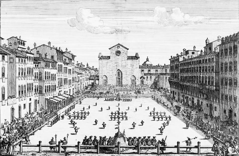 Una partita di calcio fiorentino in piazza Santa Croce nel 1688-2