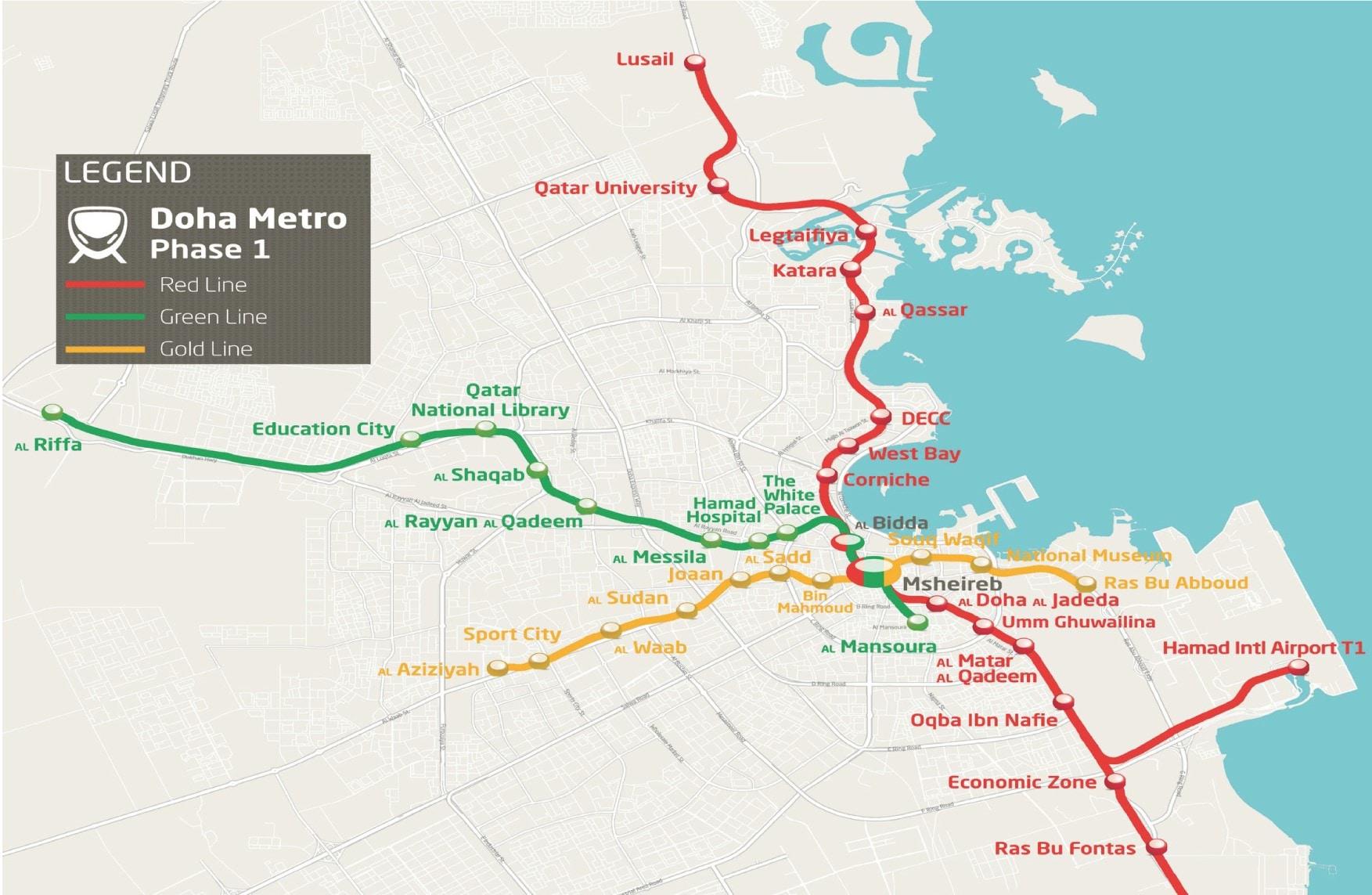 planimetria linea metro Qatar - Mapei partecipa alla costruzione
