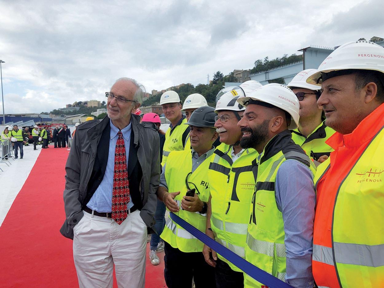Renzo Piano in visita al cantiere del nuovo ponte di Genova - Mapei parte del progetto