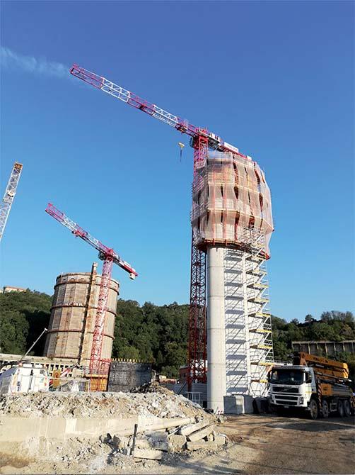 Per il mix design del calcestruzzo utilizzato per realizzare le pile Mapei ha fornito gli additivi DYNAMON XTEND W400N, DYNAMON LZ 551  e MAPEFAST ULTRA.Ponte Morandi ora nuovo Ponte di Genova - il Ponte San Giorgio e i prodotti Mapei (4)