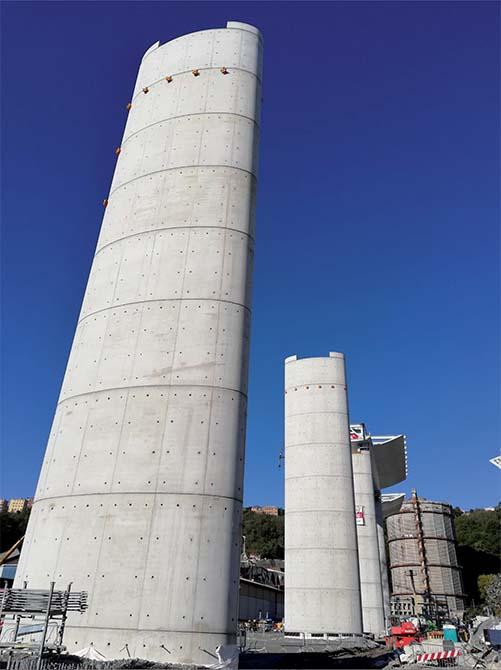 Per il mix design del calcestruzzo utilizzato per realizzare le pile Mapei ha fornito gli additivi DYNAMON XTEND W400N, DYNAMON LZ 551  e MAPEFAST ULTRA.Ponte Morandi ora nuovo Ponte di Genova - il Ponte San Giorgio e i prodotti Mapei (5)