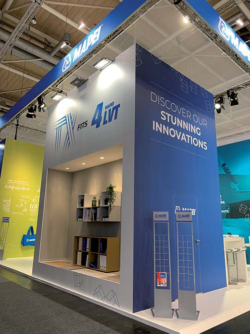 Mapei solutions at Domotex 2020 - products for textile_Mapei booth - The Mapei stand area at Domotex showcasing ULTRABOND ECO TACK TX+, the latest tackifier for carpets and  loose lay LVTs
