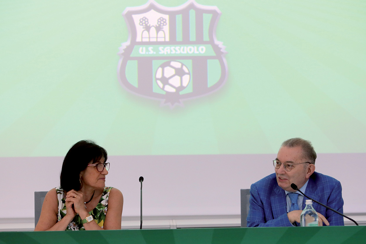 U S Sassuolo Calcio Football team conference - Adriana Spazzoli and Giorgio Squinzi Mapei