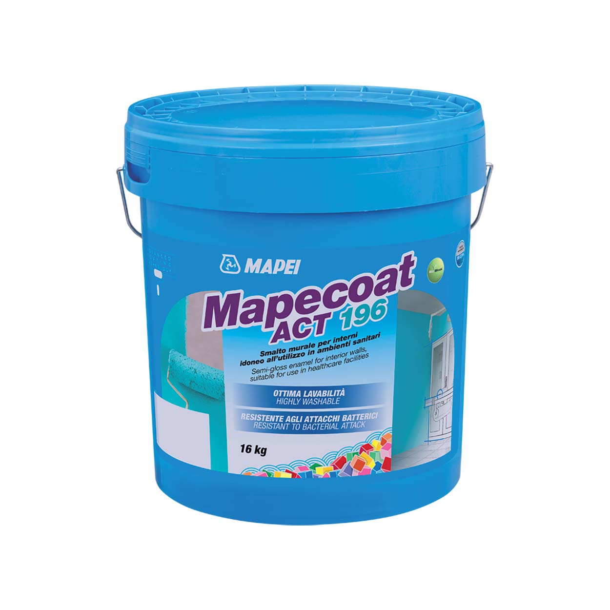 Enamel wall paint for internal surface Mapei - Mapecoat-Act-196-16kg packaging