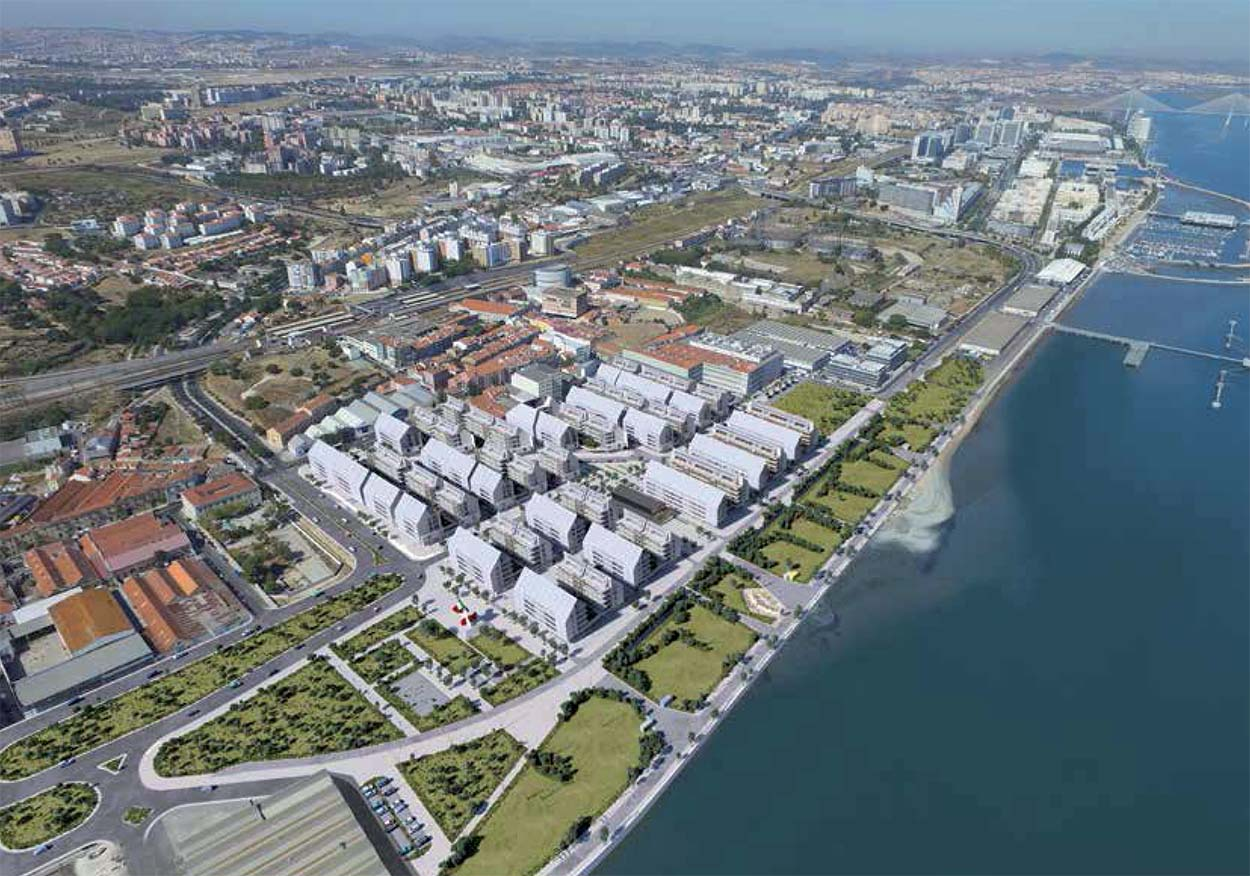 Rendering view of Braço de Prataluxurious residential complex in Lisbon designed by Renzo Piano - Mapei part of the project