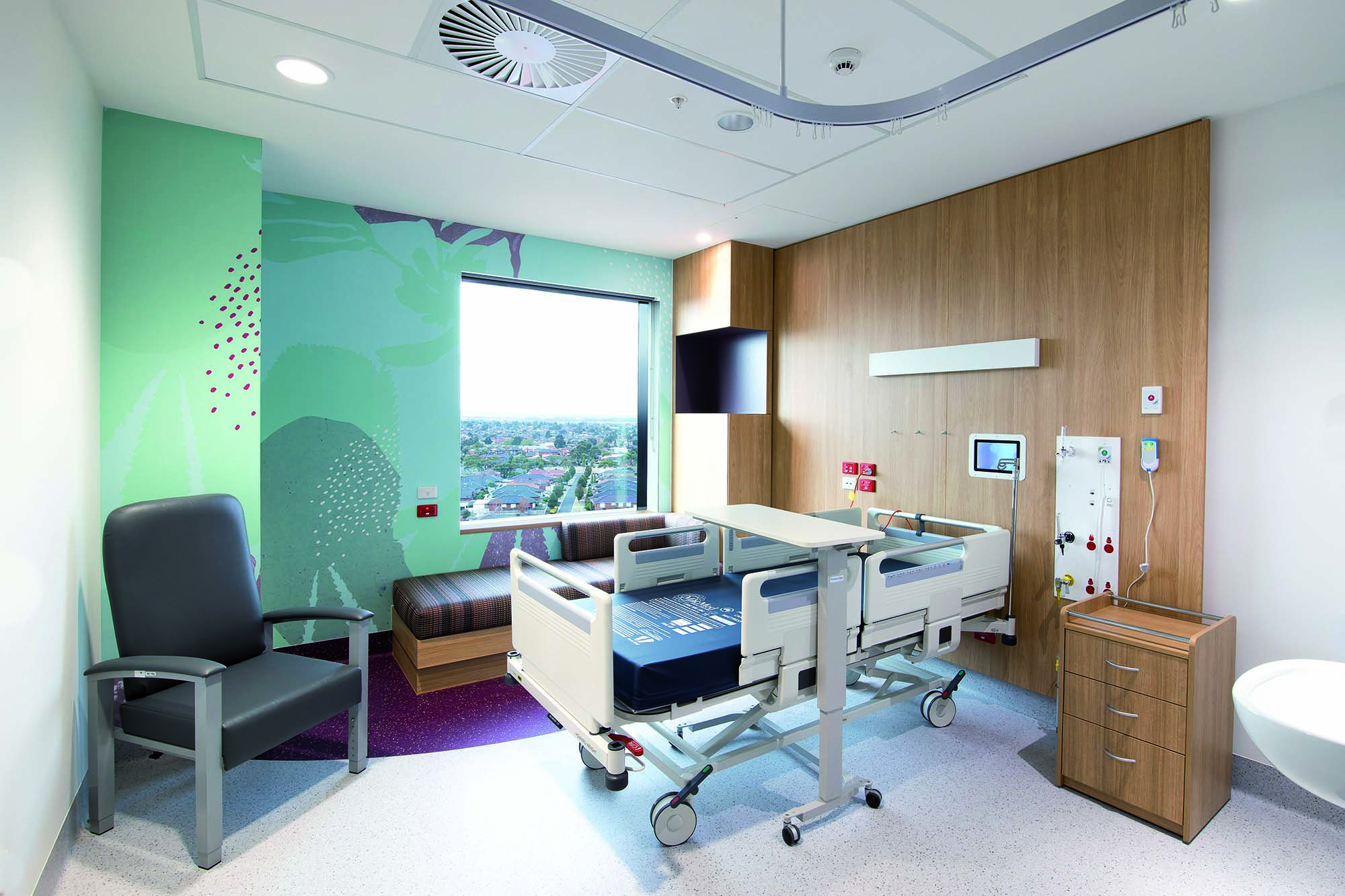 Some examples of vinyl coverings installed at the Joan Kirner Women's and Children's Hospital - Melbourne - Australia