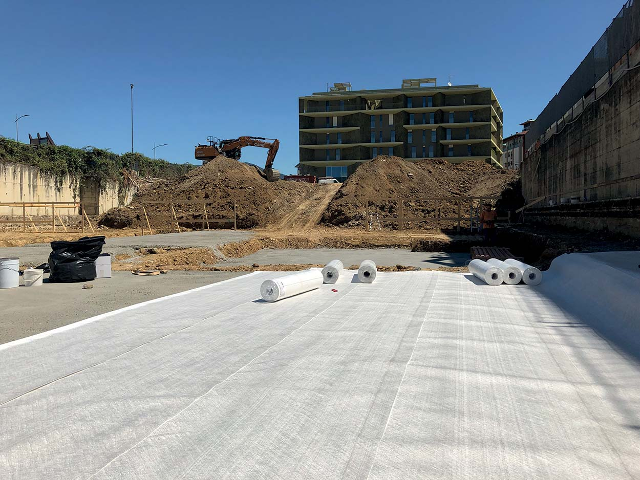 A view of a building site where Mapei fully-bonded waterproofing membranes were used_MAPEPROOF FBT range