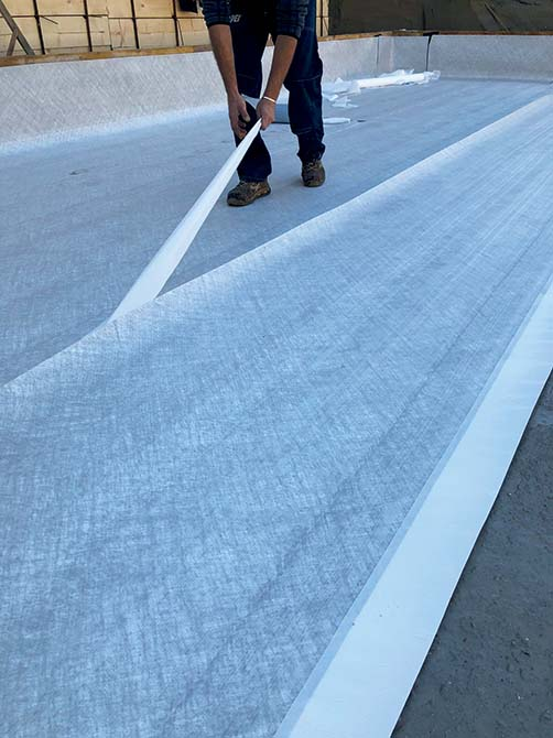 Waterproofing horizontal surfaces with Mapei fully-bonded membranes_Fully-bonded  waterproofing membranes by Mapei