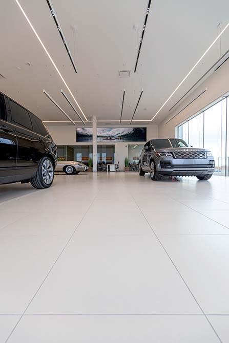 Jaguar-Land Rover Showroom - Calgary - Canada- Mapei solution for installing ceramics